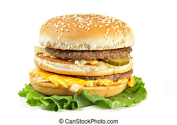 Double hamburger - The double hamburger lays on leaves of...