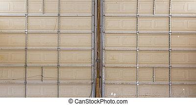 double, haut, portes garage, fin, vue