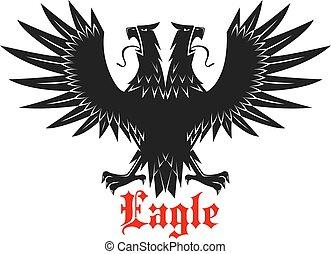 Double headed black heraldic eagle icon