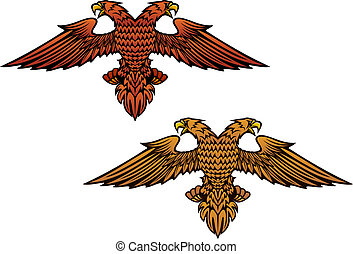Double headed eagle for heraldry or mascot design