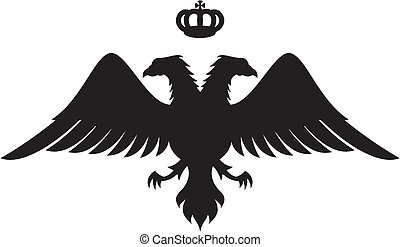 Double headed eagle silhouette with crown vector - Double...