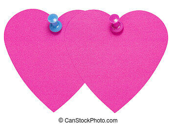 Double Heart Sticky Label, with pin