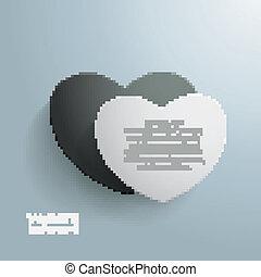 Double Heart White Black