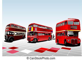 double, illustration, decker, vecteur, londres, bus., rouges