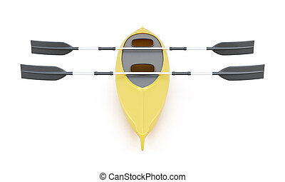 Double kayak with paddles isolated on a white background. 3d ren