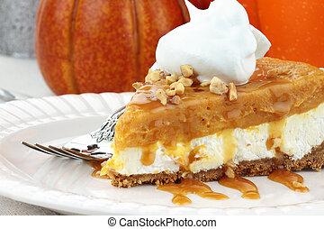 Double Layer No Bake Pumpkin Pie - Slice of Double Layer No...