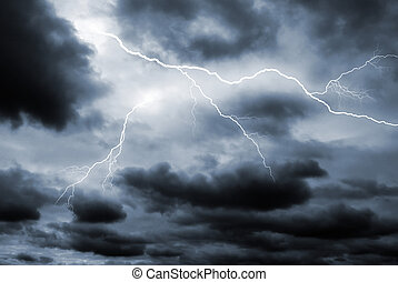 Double lightening strike - Two lightening bolts flash ...