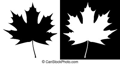 Double maple leaf silhouette on a contrast background. EPS10 vector illustration.