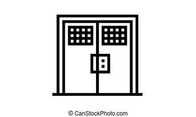 double metallic prison door animated black icon. double metallic prison door sign. isolated on white background