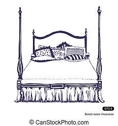 double, moderne, fourrure, bois, chambre à coucher
