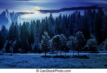 double moon over the forested landscape at night in full...