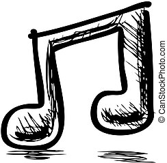 Double music note hand drawing cartoon sketch illustration...