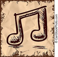 Double music note isolated on vintage background - Double...