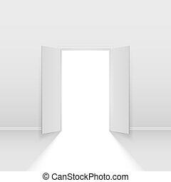 Double open door. Illustration on white background