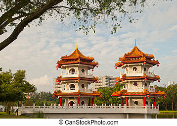 Double Oriental pagodas