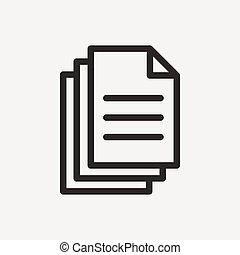 double papers icon of brown outline for illustration