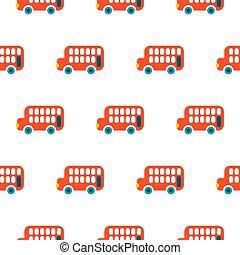 double, pattern., seamless, decker, vecteur, autobus, rouges, gosse