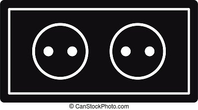 Double power socket icon, simple style