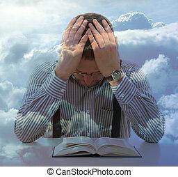 double, prier, ciel, nuages, exposition, vue, homme, inhabituel, concept, religion