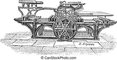 Double printing press vintage engraving - Old engraved...
