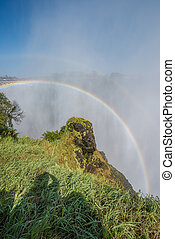 Double rainbow in spray over Victoria Falls