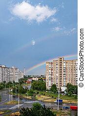 Double rainbow in the city