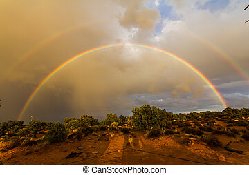 Double rainbow in the desert of Canyonlands, USA