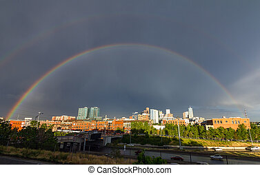 Double Rainbow Over Denver Colorado