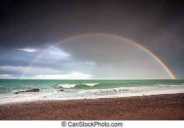double rainbow over ocean coast