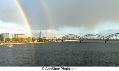 Rainbow over Riga Old Town - Double Rainbow over Riga Old...