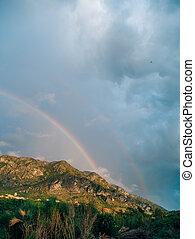 Double rainbow over the mountains. Montenegrin Mountains, the Ba