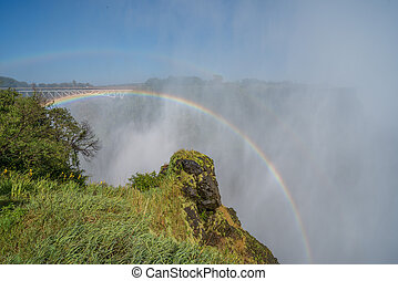 Double rainbow over Victoria Falls in spray