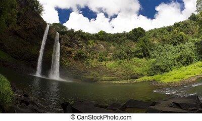 Double Rainbow Wailua Falls Lapse - Time lapse shot on the...