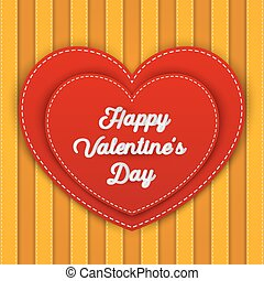 Double red heart with Happy Valentine's Day word