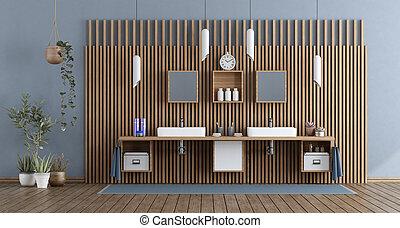 double, salle bains, moderne, lavabo