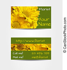 Double sided business card with big photorealistic gerberas