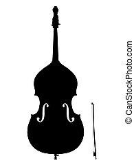 double, silhouette, basse, contour