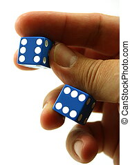Double six dice in hand