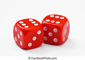 Pair of red dice thrown to a double six, isolated on a white background