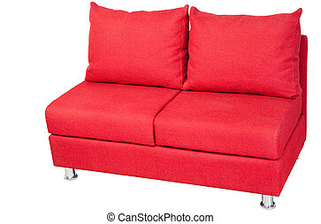Double sofa upholstered in red fabric, isolated on white.