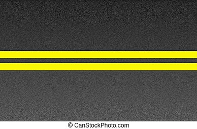 Double solid yellow lines on asphalt