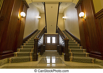 Double Staircase in Foyer