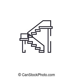 double stairs vector line icon, sign, illustration on background, editable strokes