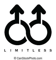 double, symbole, mâle, illimité
