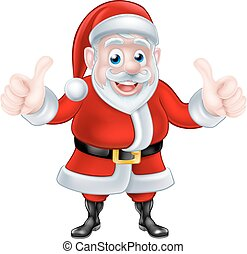 Double Thumbs up Cartoon Santa - A Christmas cartoon...