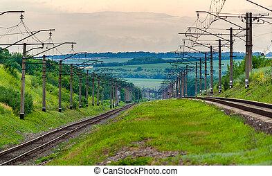 Double-track electrified (3 kV DC) railway line in Ukraine