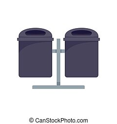 Double trash can icon, flat style