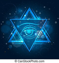 Double triangle and eye sign - Double triangle and eyeicon....