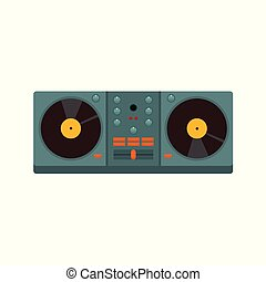 Double Turntable Disc Jockey Vector Illustration Graphic