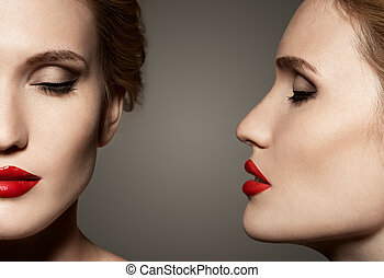 Double View Portrait Of Beautiful Woman With Bright Make-Up